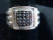 Gent's Silver-Diamond Ring 45 Diamonds .90 Carat T.W. 925 Silver 7.7dwt